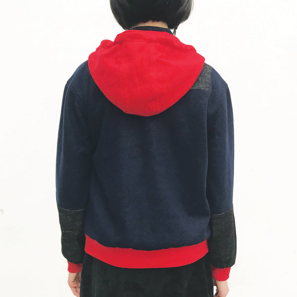 Chinese Hooded Jacket, Red Combo