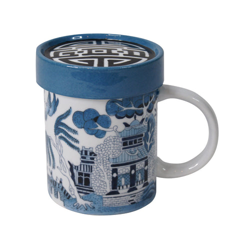 'Chinese garden' handpainted mug with lid | Goods of Desire