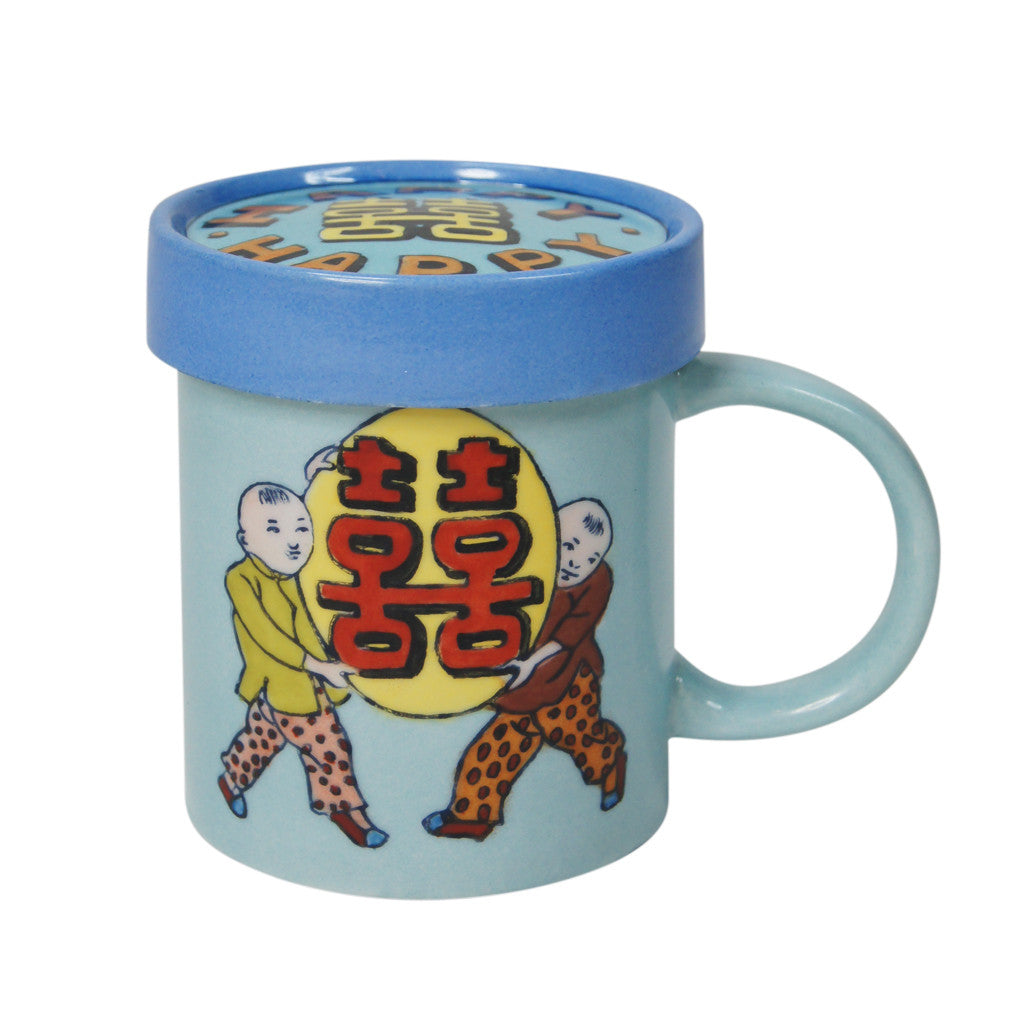 'Double Happiness babies' handpainted mug with lid | Goods of Desire