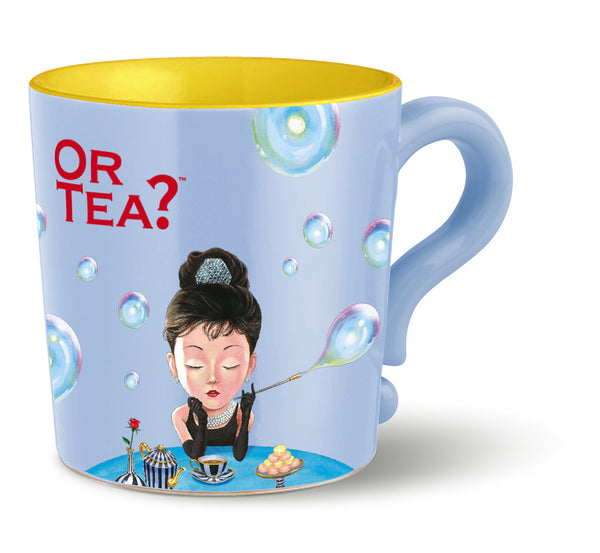 OR TEA C MUG w/lid & tea strainer - baby blue