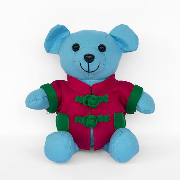 Bear with Fuchsia Chinese Jacket, Light Blue