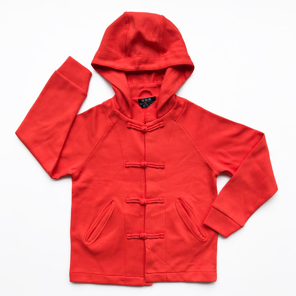 Kids Knot Button Hoodie, Persian Red
