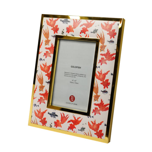 'Goldfish' 4R Padded Photo Frame, Orange/White