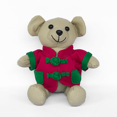 Bear with Green Chinese Jacket, Beige