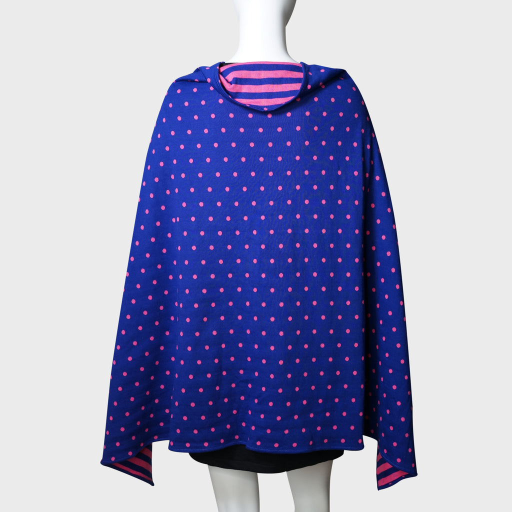 'Wai Ying' cape shawl (blue / pink)