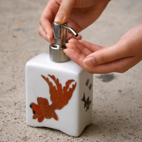 'Goldfish' handpainted soap dispenser