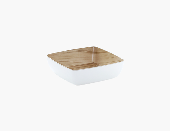 Zicco Square Bowl, White/Wood