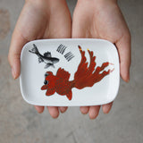 'Goldfish' handpainted soap dish (orange)