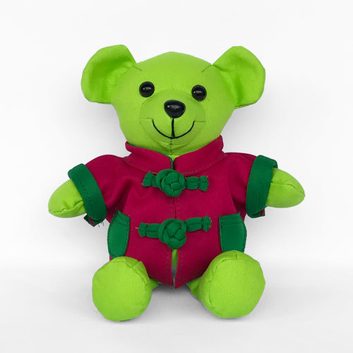 Bear with Fuchsia Chinese Jacket, Lime