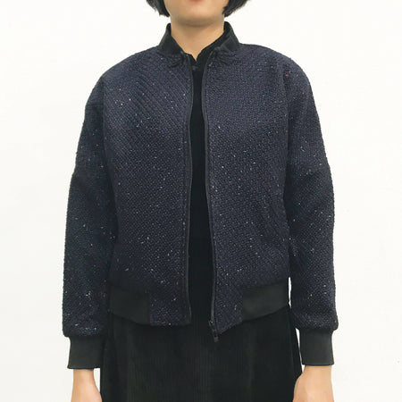 Mui Jai Top with Contrast Buttons (Navy Bubbles/Orange)