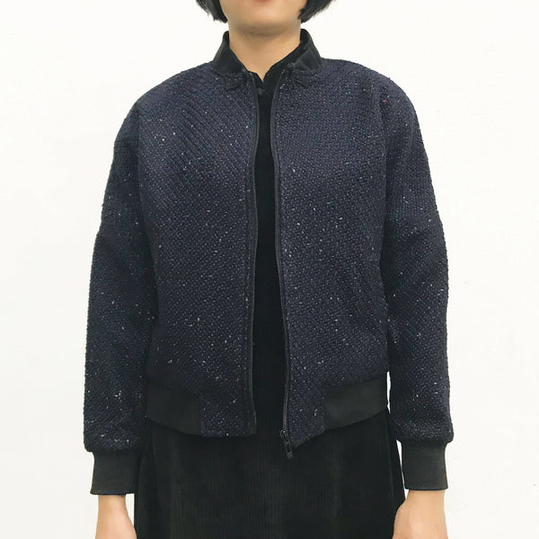 Chinese Zip Jacket, Navy Weave