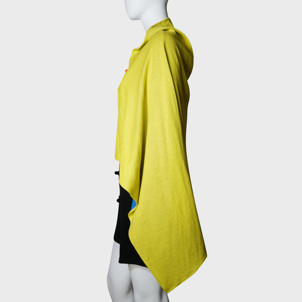 'Wai Ying' cape shawl (blue / yellow)