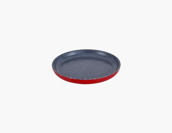 Zicco Round Plate, Red+Gray Dots