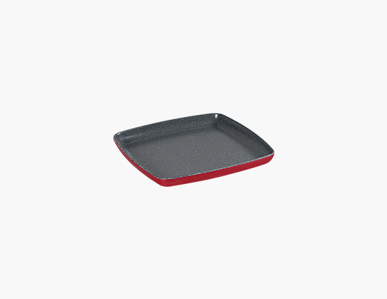 Zicco Square Plate, Red+Gray Dots