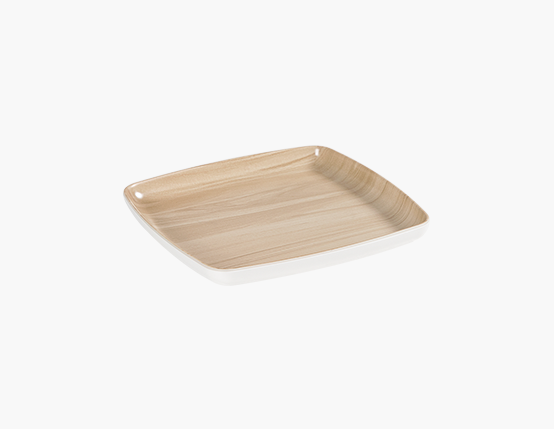 Zicco Square Plate, White/Wood