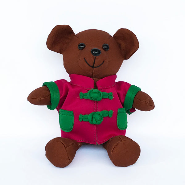 Bear with Fuchsia Chinese Jacket, Brown