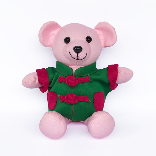 Bear with Green Chinese Jacket, Pink