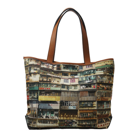 'Yaumati' leather trim tote bag