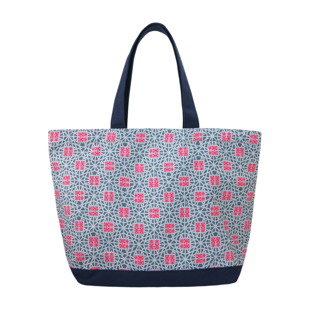 'Double Happiness' zipped canvas tote bag (large)