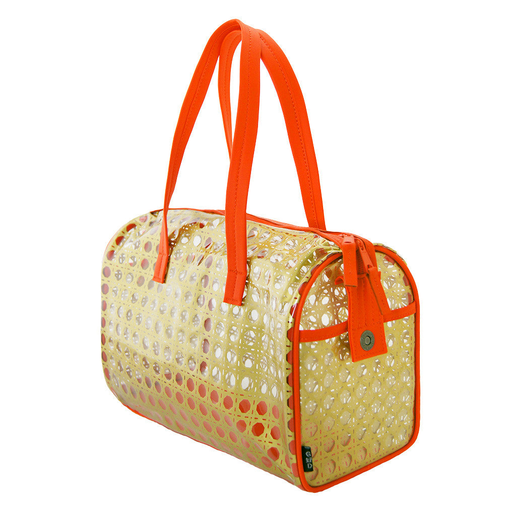 'Rattan' red and gold see-through bag (barrel)