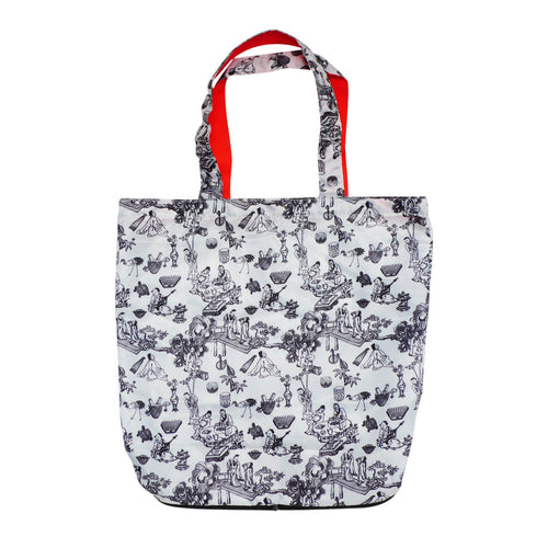'Hong Kong Toile de Jouy' foldable recyclable shopping bag with zipper, Bags and Travel, Goods of Desire, Goods of Desire