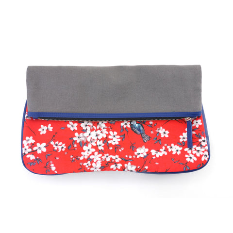 'Cherry Blossom' clutch with leather trim - Goods of Desire