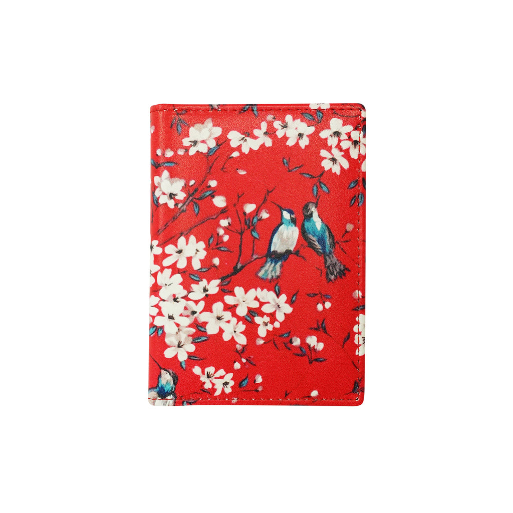'Cherry Blossom' leather card case