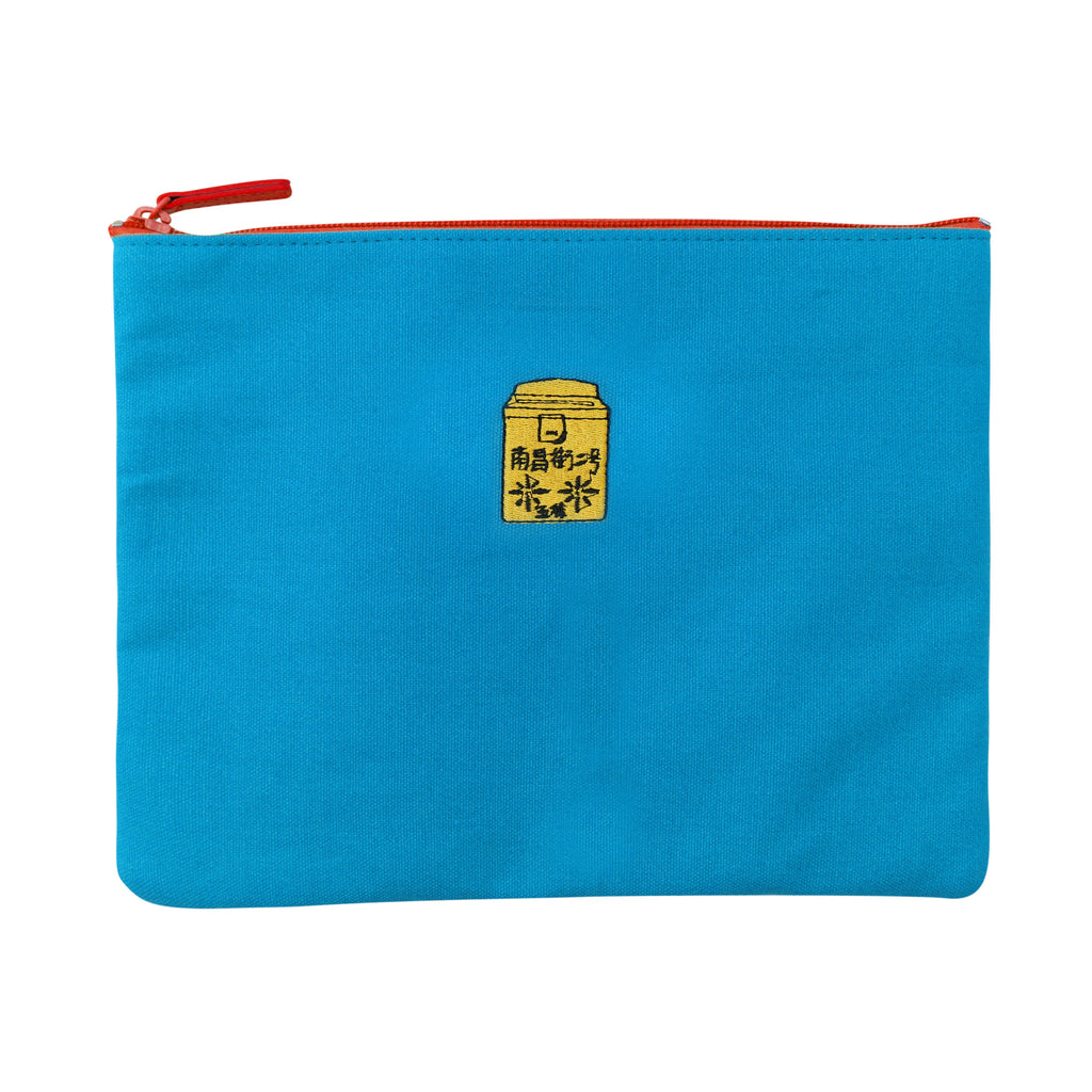 'Letterbox' embroidery travel pouch (Blue)| Goods of Desire