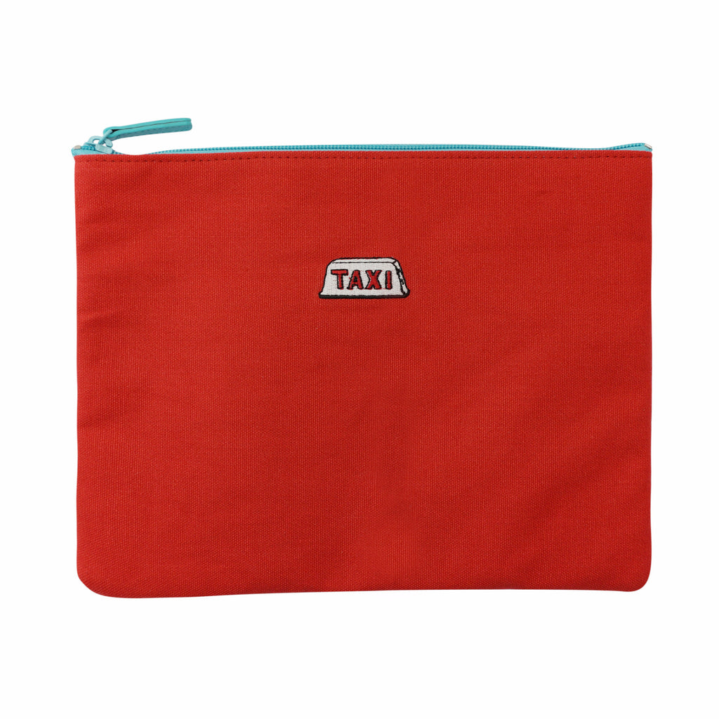 'Taxi' embroidery travel pouch (red)| Goods of Desire