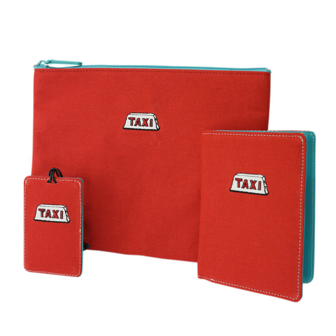 'Taxi' embroidery travel set (Red) | Goods of Desire