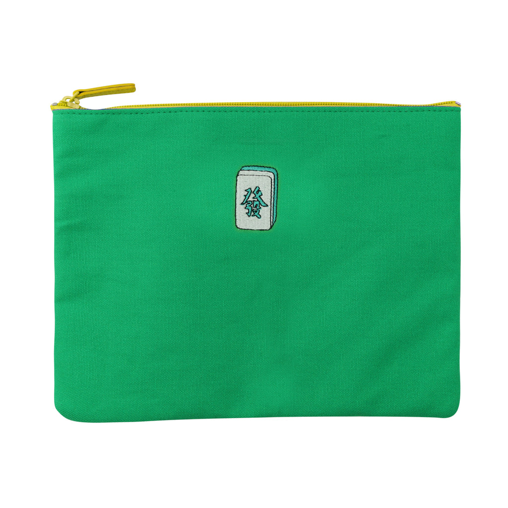 'Mahjong' embroidery travel pouch (green) | Goods of Desire