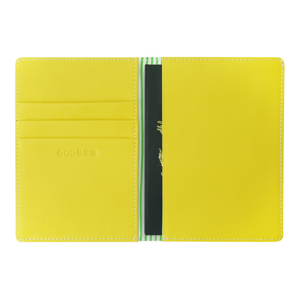 'Mahjong' embroidery passport holder (green @ yellow) | Goods of Desire