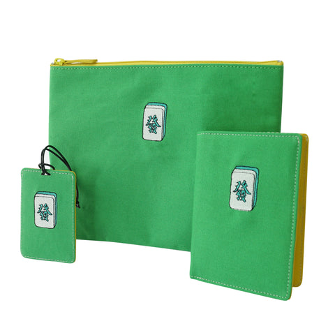 'Mahjong' embroidery travel set (green) | Goods of Desire