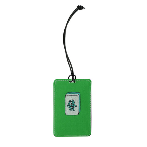 'Mahjong' embroidery luggage tag (green)| Goods of Desire