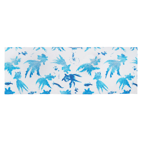 'Goldfish' cotton scarf (White and blue)