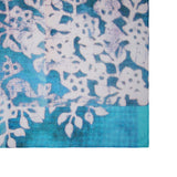 'Floral Woodblock' cotton scarf (Blue with white)