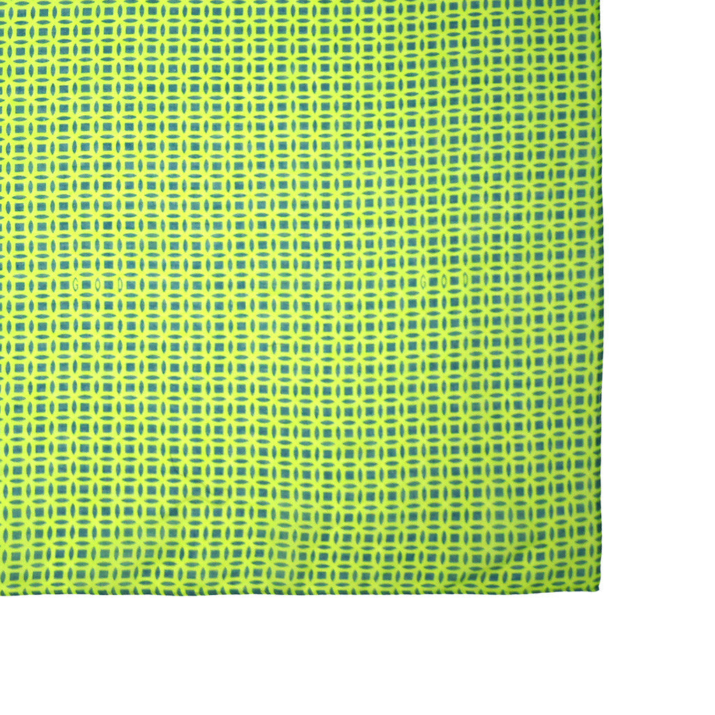 'Chinese Coins' cotton scarf (lime green and navy) - Goods of Desire