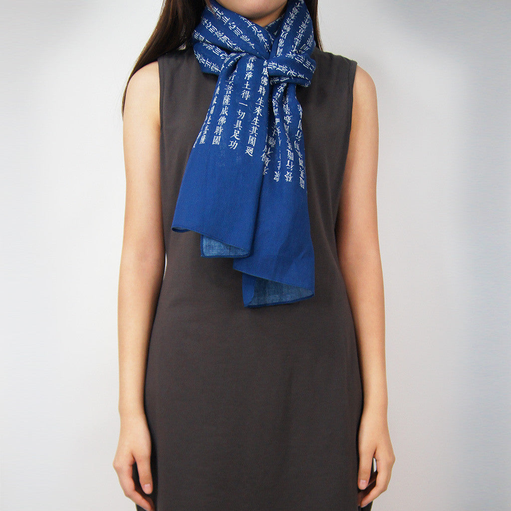 'Sutra' cotton scarf (blue with white)