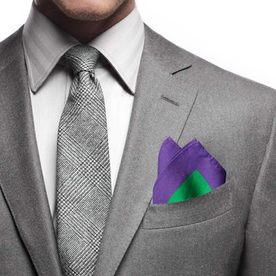 Goods of Desire 'Peony' pocket square purple green