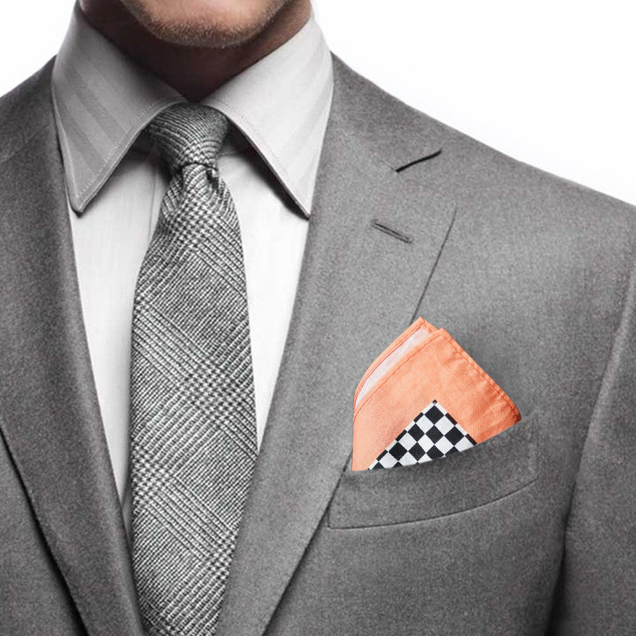 Goods of Desire 'Jalopy' pocket square in orange, black & white