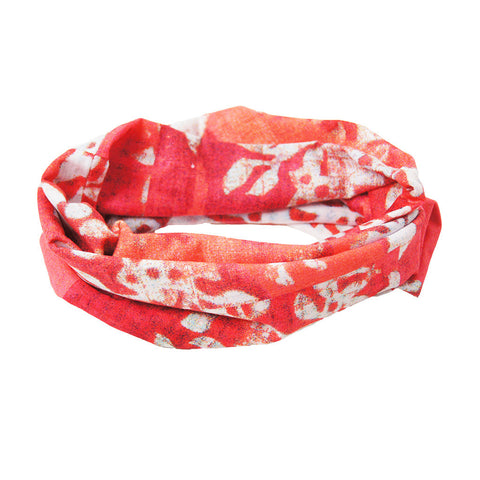'Floral Woodblock' tube wrap (pink with white)