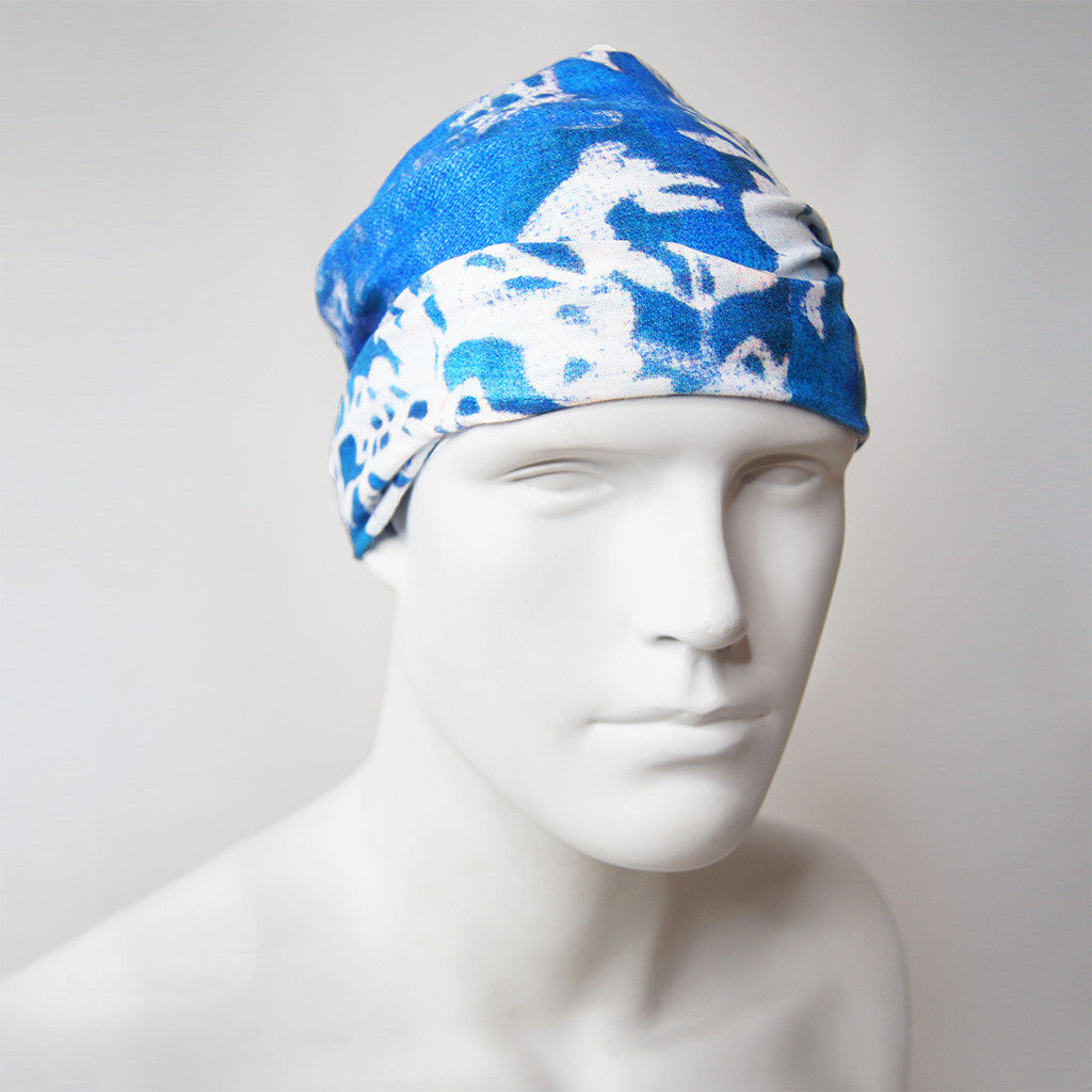'Floral Woodblock' tube wrap (blue with white)