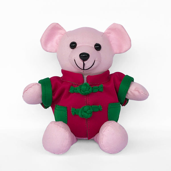 Bear with Fuchsia Chinese Jacket, Pink