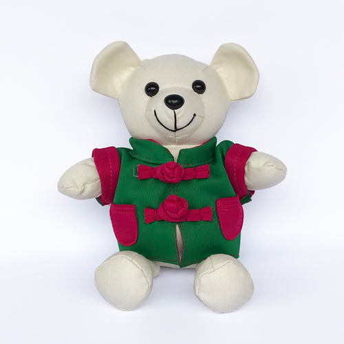 Bear with Green Chinese Jacket, Ivory