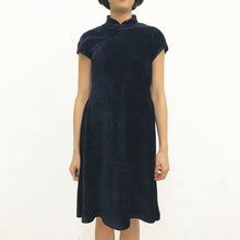 Load image into Gallery viewer, Corduroy Qipao Dress, Navy