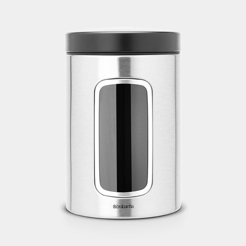 Window Canister 1.4L with Black Lid, Matt Steel by Brabantia