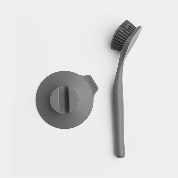 Brabantia Dish Brush with Suction Cup Holder, Dark Grey