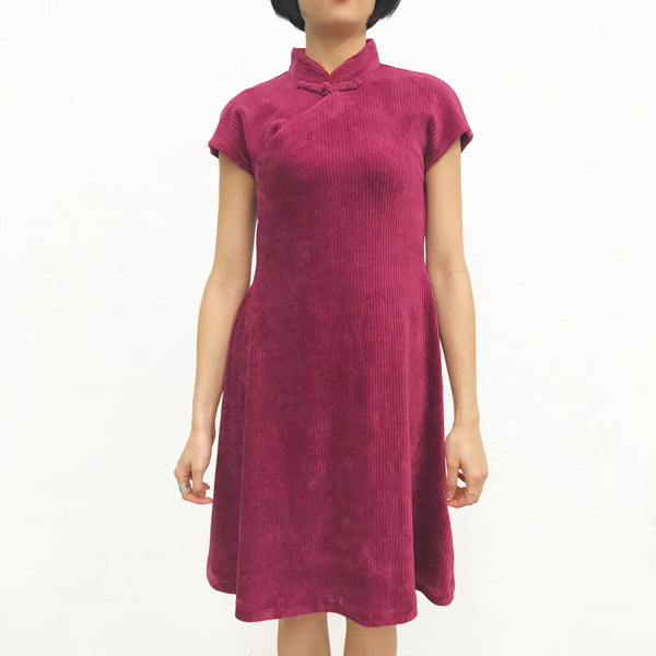 Corduroy Qipao Dress, Burgundy