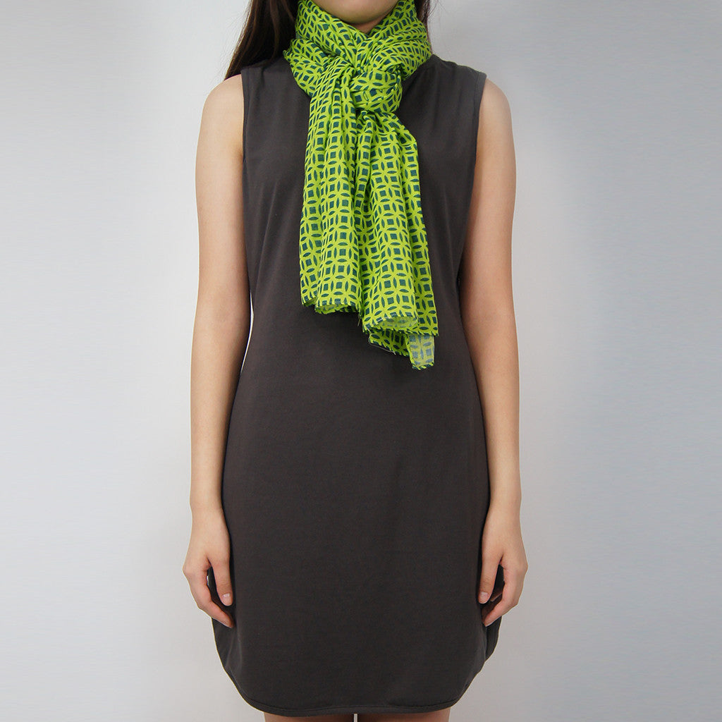 'Chinese Coins' cotton scarf (lime green and navy)