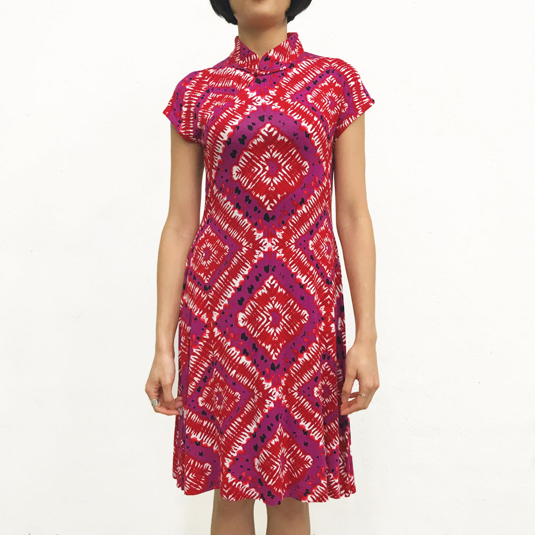 'Red Diamond' Printed Qipao Dress